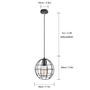 Industrial Vintage Round Cage Pendant Lampshade (E27 Socket AC 85-240V)