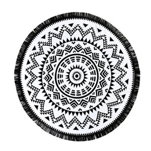 Round Beach and Yoga Hippie Tapestry Towel