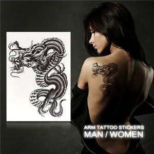 Large Black Dragon Temporary Tattoo Arm Tattoo Stickers for Men Women