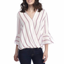 Ladies Casual Striped Shirt Three Quarter Sleeve