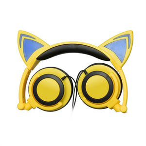 Lovely Cat Ear Headphones Foldable Wired Over Ear Glowing Light Headphone Headsets For Girls Children and young adults