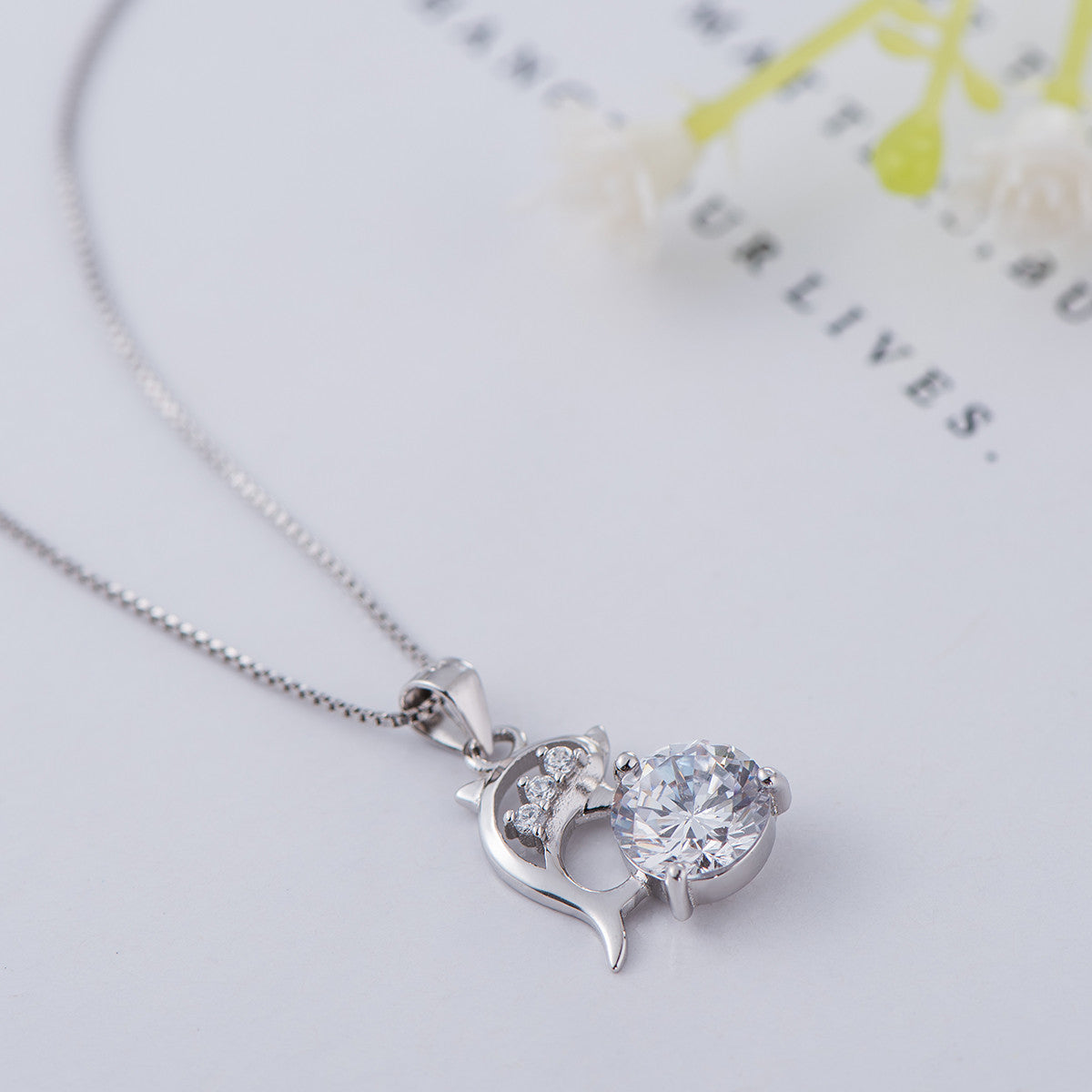 925 sterling silver necklace girls clavicle chain dolphin love 925 sterling silver necklace girls clavicle chain dolphin love simple pendant jewelry mozeypictures Image collections