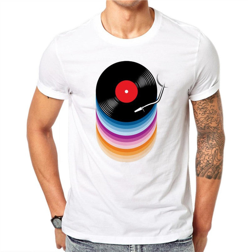 Cotton Vinyl Records Print T-shirts Men Summer Tops Tee Shirt Men O-neck Short Sleeve Fashion Tshirts