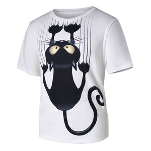 Men Women Couple Models Cat Pattern Print Short-Sleeved T-Shirt Tops Blouse