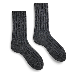 Lisa.b chunky cable socks - charcoal