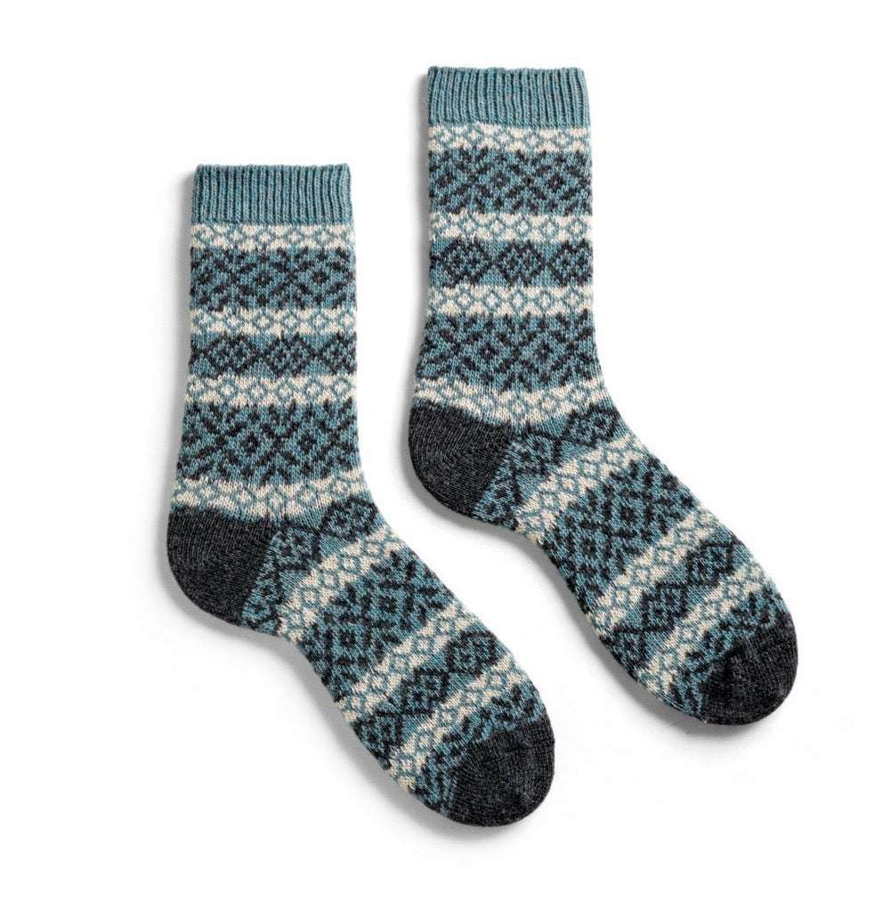NORDIC cashmere blend socks teal  by Lisa.b