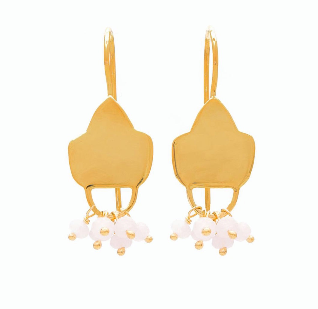 SARAH gold plated pink chalcedony earrings