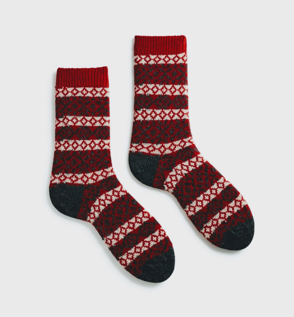 NORDIC cashmere blend socks red  by Lisa.b