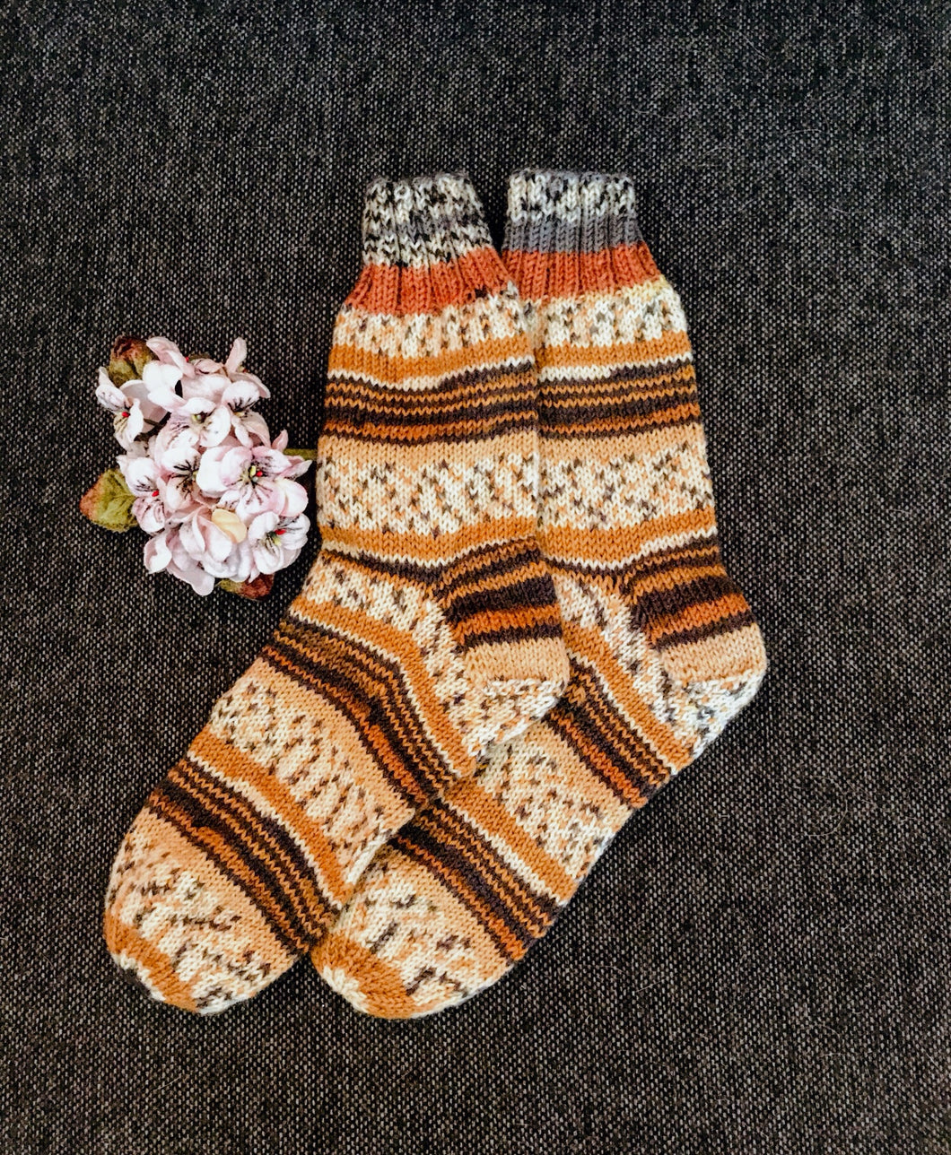 Hand knitted women wool socks S02 - Hidden By Me