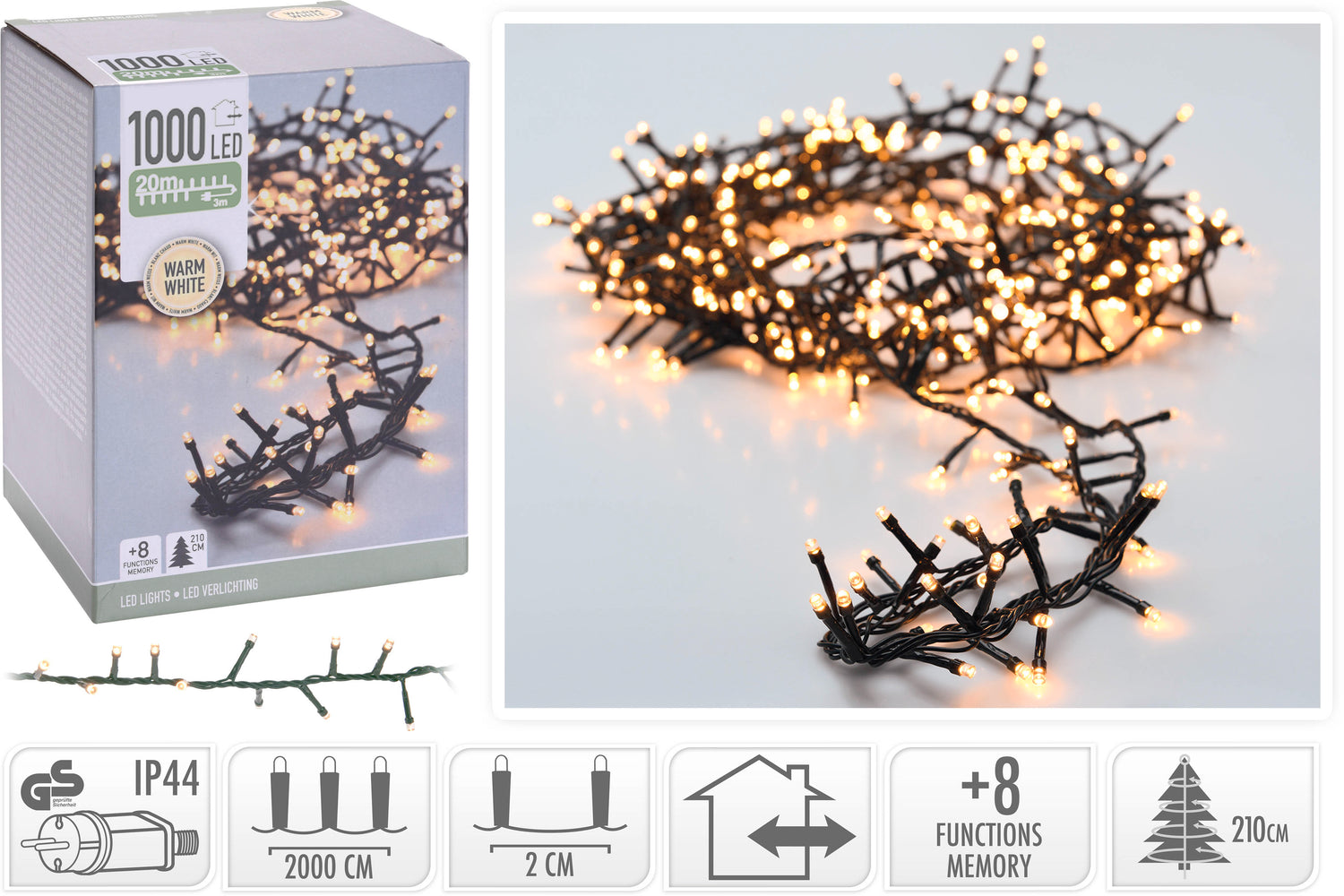 MICROCLUSTER 1000LED WW 20MTR