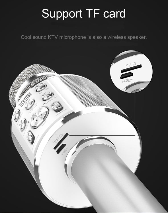 Wireless Karaoke Microphone Professional Bluetooth Karaoke Microphone 2-in-1 Built-in Speaker