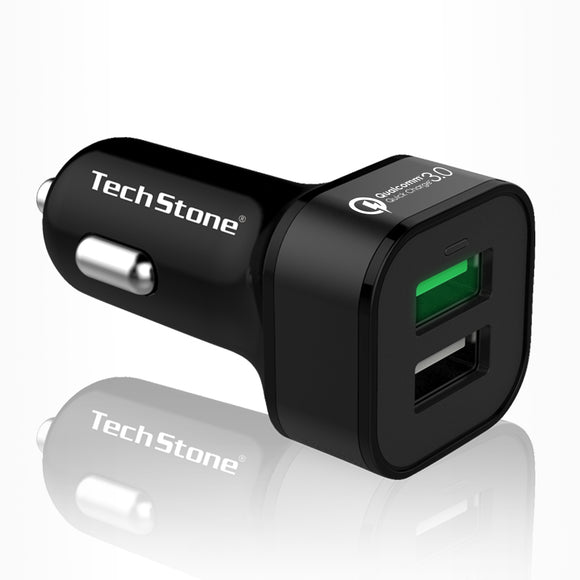 Quick Charge 3.0 Car Charger 36W 2 USB Adaptor Fast Charger Iph: 6 7 8 X XS XR Galaxy S9 S8 S7 etc