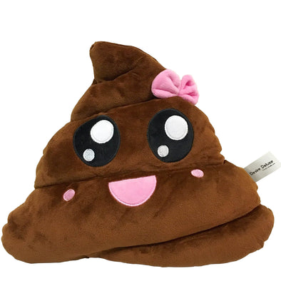 Happy Poop with Bow Emoticon Cushion
