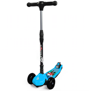 Three Wheel Kids Kick Scooter for Boys & Girls – Foldable Design, 4 Height Adjustable T-Bar, Micro LED Light Up 3 Wheels, Bottom Nylon Armour Protection – Toy For Children Age 5 6 7 8 9 Year Old Blue
