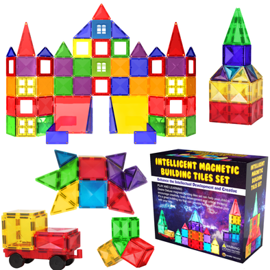 Desire Deluxe Magnetic Building Blocks Tiles Set - Educational Kids Toys for Boys Girls Age 3 4 5 6 7 Year Old - Learning Construction Toy 57pcs