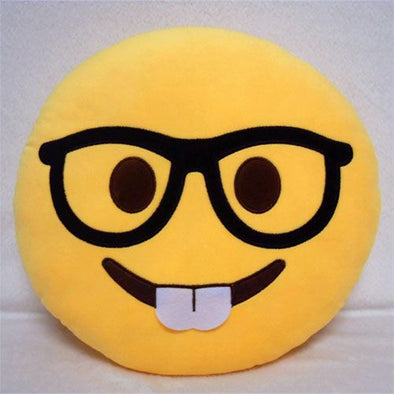 Yellow Nerd Face Round Emoticon Cushion