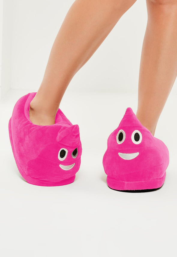 Desire Deluxe Funny Novelty Emojis Poo Slippers Gift Toy Present for Girls – Winter Smiley Plush Indoor Emoticon Poop Footwear for Adults Ladies Children's (Pink)