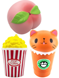 Popcorn, Coffee Cat and Peach Squishes