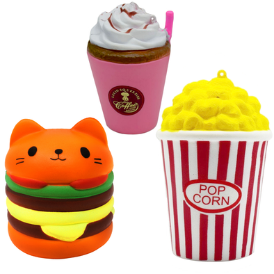 Cat Burger, Popcorn, Coffee Pack Squishy Cushion