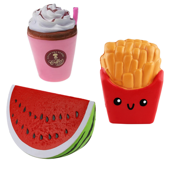 Coffee, Watermelon and Chips Squishes Pack