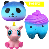 Tooth, Unicorn, Panda Pack Squishy Cushion