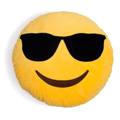 Yellow Round Sunglasses Emoticon Cushion