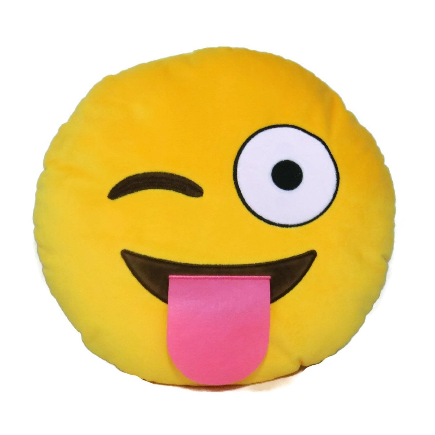 Wink Face Yellow Emoji Pillow Smiley Plush Cushion Cell Phone Emoticon Toy Winky