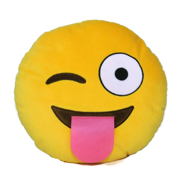 Wink Tongue Out Emoji Cushion