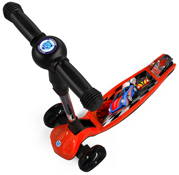 Three Wheel Kids Kick Scooter for Boys & Girls – Foldable Design, 4 Height Adjustable T-Bar, Micro LED Light Up 3 Wheels, Bottom Nylon Armour Protection – Toy For Children Age 5 6 7 8 9 Year Old RED