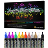 Desire Deluxe Acrylic Paint Pens - Non Toxic Water Based Rock Painting Waterproof Kit Markers for Stone, Ceramic, Glass, Wood, Porcelain, Pebbles - Reversible Round & Chisel Tip