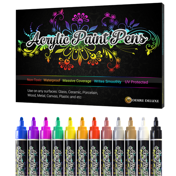 Acrylic Paint Pens Waterproof Kit Markers Reversible Round & Chisel Tip
