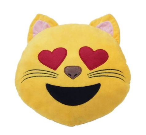 Cat Heart Eye Smile Emoticon Round Cushion