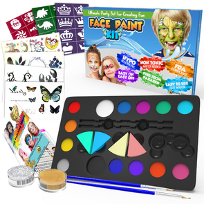 Face Paints for Children Make Up Set Body Painting Palette Kit Inc: Glitter Stencil Tattoo for Kids