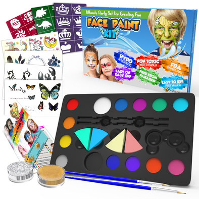 Desire Deluxe Face Paints for Children Halloween Make Up Set for Boys Girls Toy Body Painting - Christmas Present Palette Kit Including Glitter, Stencil, Tattoo for Kids - Unique Gift