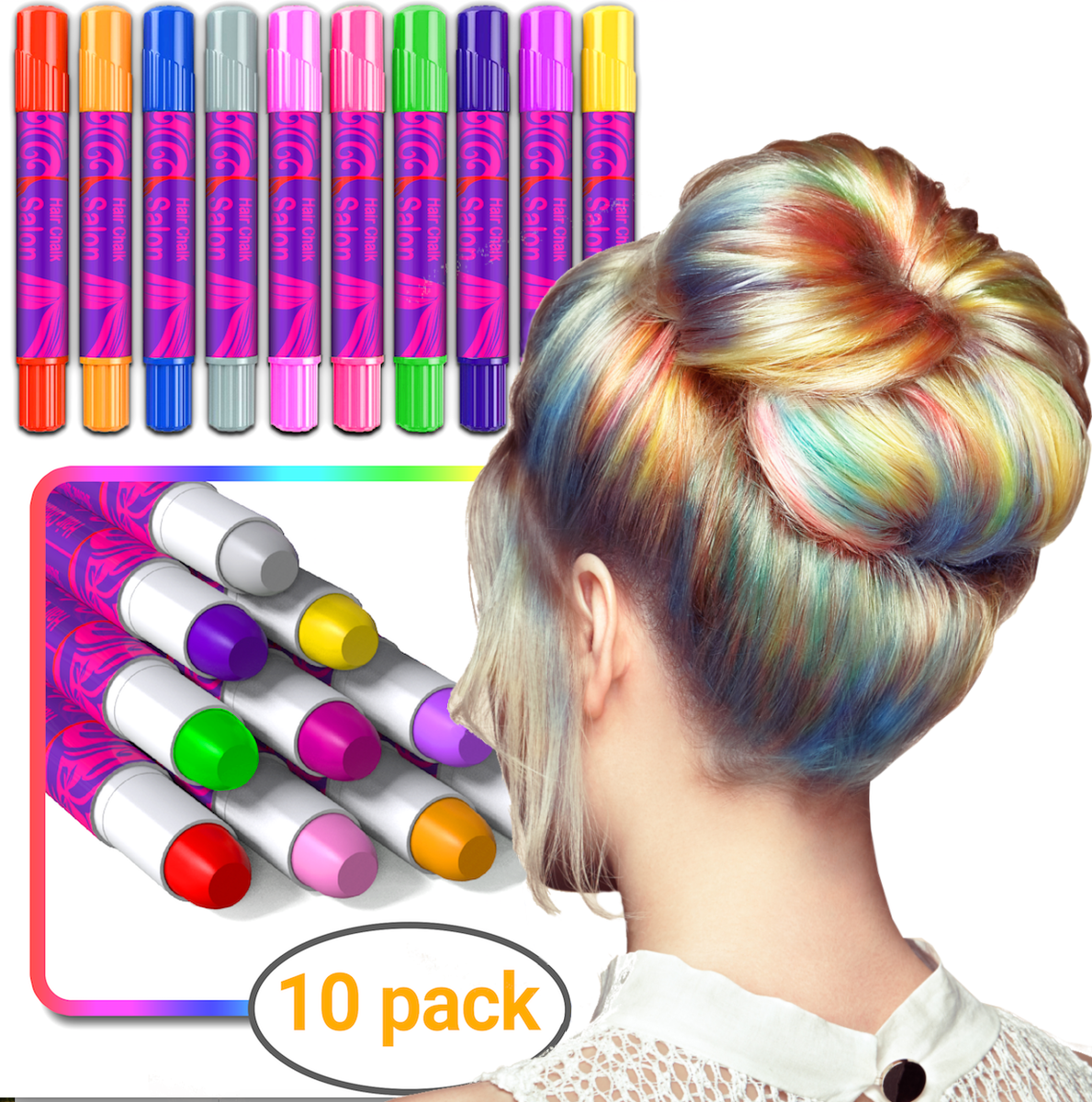 Desire Deluxe Girls Gifts Hair Chalk Gift for Girls – 10 Temporary  Non-Toxic Easy Washable Hair Dye Colourful Pens – Great Games Birthday  Christmas ...