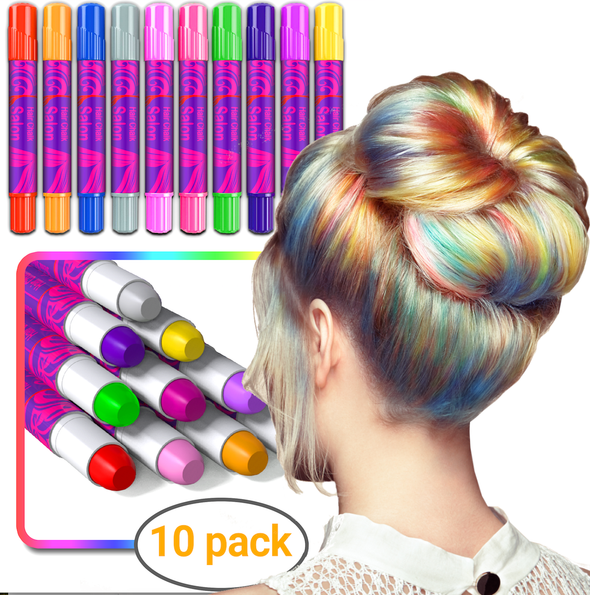 Desire Deluxe Girls Gifts Hair Chalk 10 Temporary Non-Toxic Easy Washable Hair Dye Colourful Pens