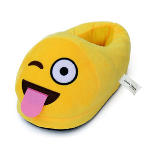 Desire Deluxe Emoti Slippers Tongue Shape Funny Novelty Winter Smiley Plush Indoor Universal Size Emoticon Footwear for Boys Girls Adults Ladies Children's 5 6 7 8.5