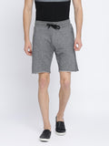 Grey self design terry shorts with raw edges