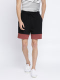 Black and Red Color block Shorts