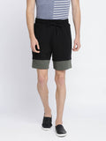 Black and Green Color-blocked Shorts