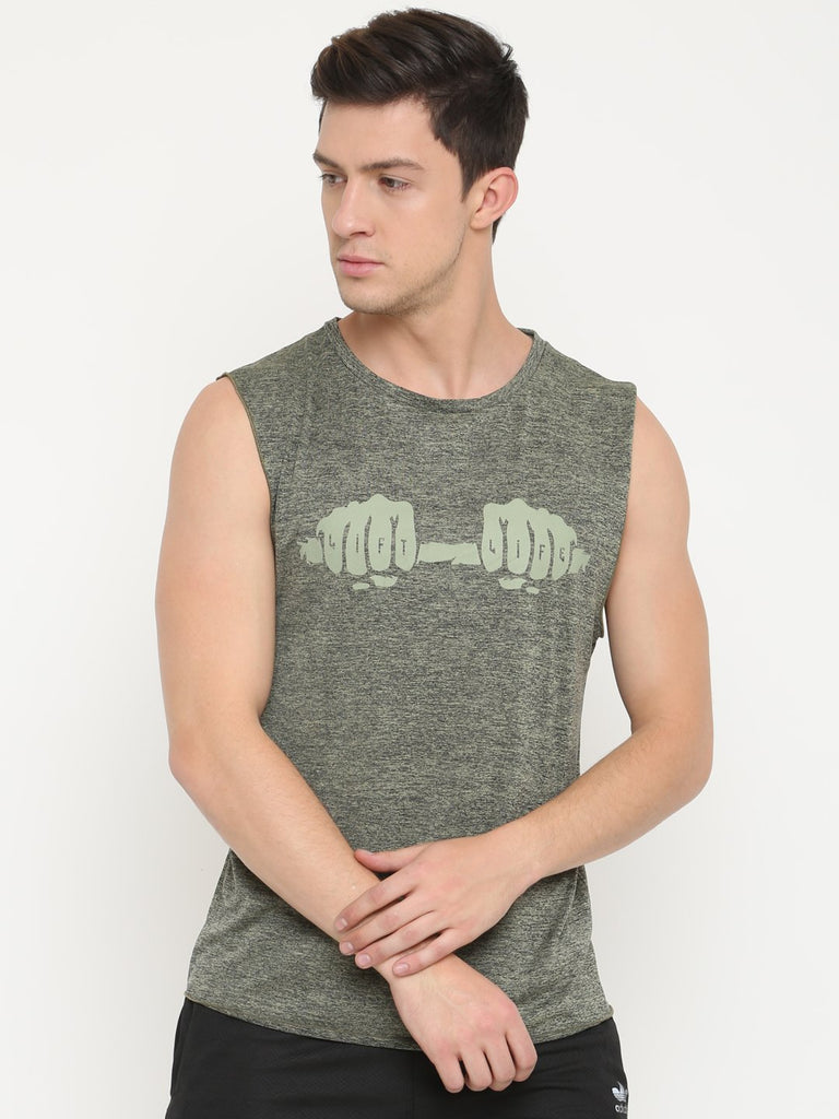 LIFT LIFE Green Sleeveless Tshirt