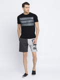 Grey Melange and Charcoal Colourblocked Shorts