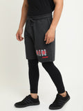 Charcoal grey casual mid-rise shorts with Typography Print