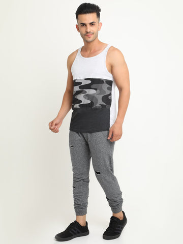 Grey distressed Jogger has three pockets and a draw string closure