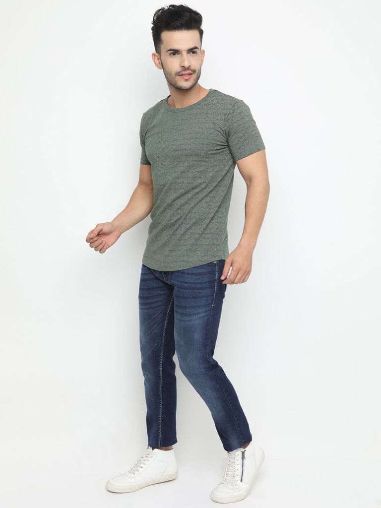 Vertical spliced back printed casual round neck Tshirt with Short Sleeves