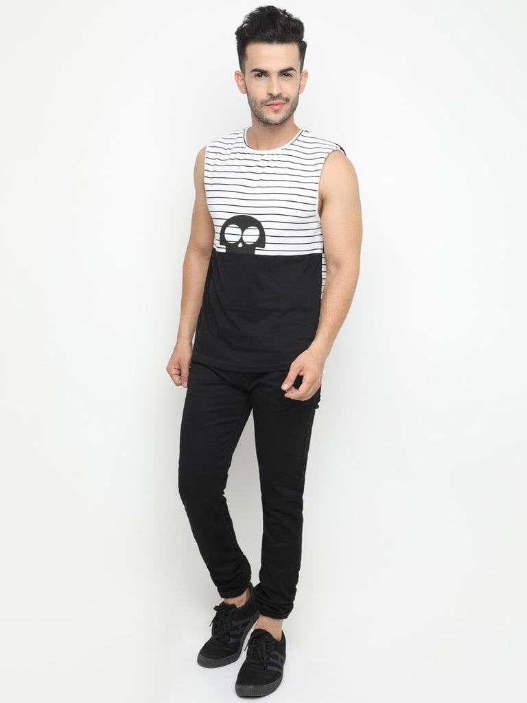 Casual Round Neck  Colorblocked Sleeveless Tshirt