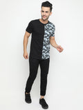 Vertical Colorblocked Camo Black Tshirt