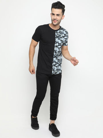 Colorblocked Camouflage Tshirt with Curved Hem