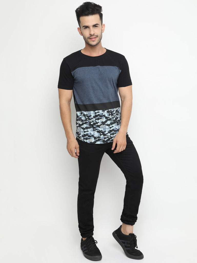 Casual Round Neck  Colorblocked camouflage Tshirt with Curved Hem
