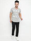 Grey Melange Striped V-Neck Tshirt